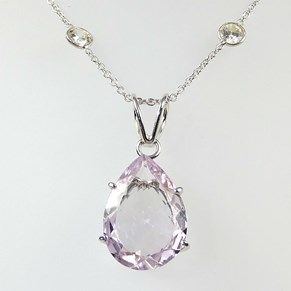 Large Amethyst Pendant on Silver Diamonds By The Metre
