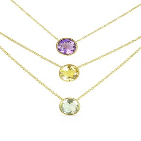 The Golden Oval Gemstone Necklace