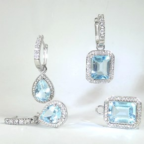 Truly Amazing Detachable Blue Topaz CZ 'Diamond' Cluster Gemstone Earrings