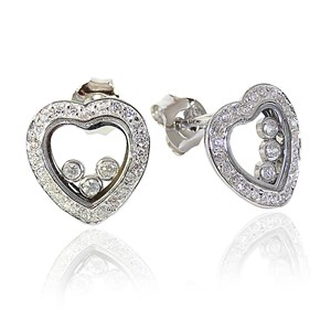 Heavenly Floating Diamond Heart Earrings