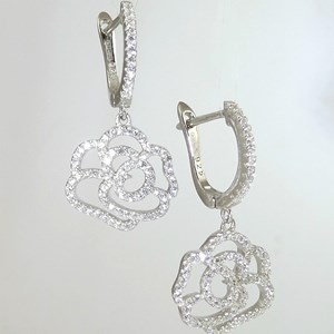 Riviera Flower 'Diamond' Leverback Earrings