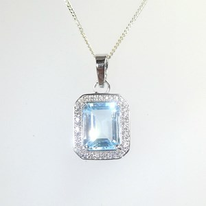 Square-Cut Blue Topaz Pendant with 'diamond' cluster surround