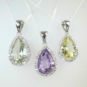 NEW! Magnificent Gemstone Cluster Pendant with 'Diamonds'