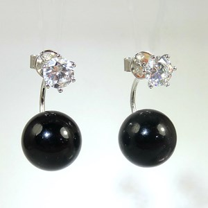New! The Divine Pearl Black Back-To-Front Earrings
