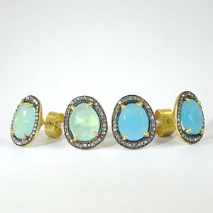 NEW!  REAL Diamonds with blue or aqua chalcedony studs