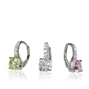 The Coloured Diamond Leverback Hoops