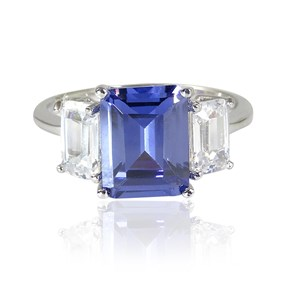 Classic Square Cut Sapphire Engagement Ring