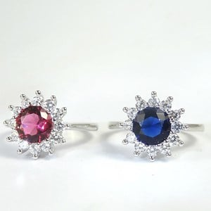 The 'Diamond and Gemstone  Cluster'  CZ Flower Ring