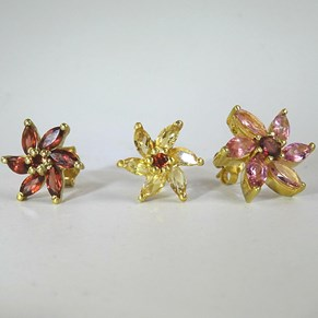 Beautiful Daisy Earrings - in Citrines, Tourmalines or Garnets