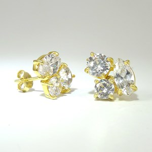 Golden Trio Of 'Diamonds' - in 18ct yellow gold vermeil