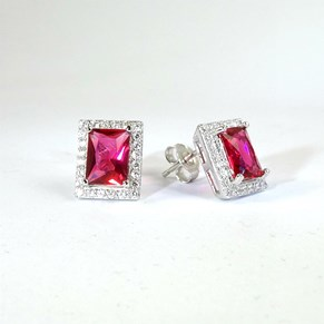 They're BACK!! Fine Square-cut Ruby and Diamond Earrings