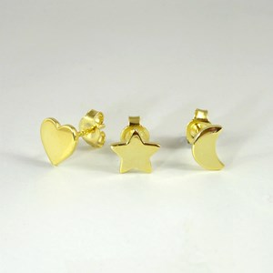 Sun, Moon and Hearts Studs