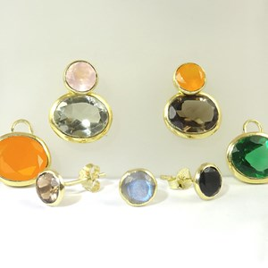 Gold Gemstone Rubover Studs and Detachable Ovals