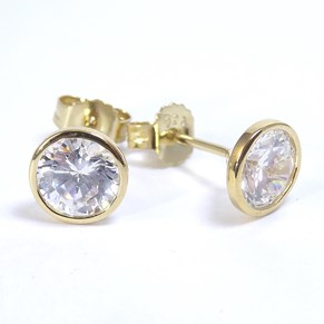 Gold CZ Rubover Studs