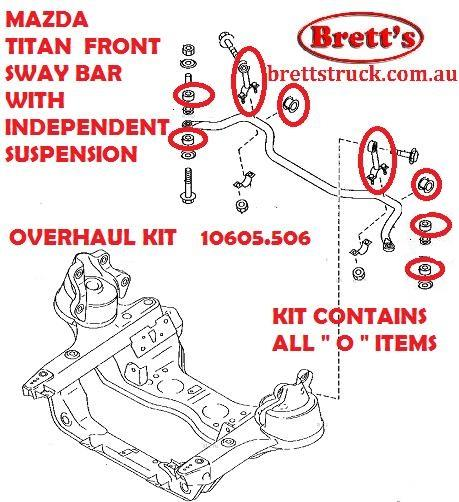 SPEC 10605 506 KIT BUSH FRONT SWAY BAR MAZDA TITAN 2000- WITH IFS  INDEPENDENT FRONT SUSPENSION STAB STABILIZER BUSH AND LINK OVERHAUL KIT  W61234156