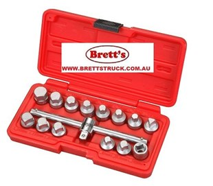 "A16235 15 PC 3/8"" SQ. DR. OIL DRAIN PLUG KEY SET SUMP PLUG Comprehensive set of Chrome Vanadium steel keys with tommy bar. Suitable for sump plugs on engine, gearbox and back axle. Supplied in storage case."