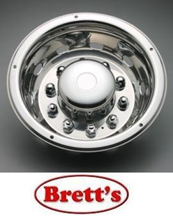 "ISRT225RWN 22.5'' REAR STAINLESS STEEL WHEEL COVER & LOCK BAND  SIMULATOR HINO MITSUBISHI FUSO ISUZU SUITS 22.5"" WHEELS HOLD ON WITH SECURITY SCREWS SS225RWN  ISRT225 SS225"