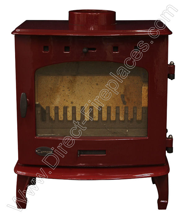 Red Enamel Carron Multi Fuel Stove Defra Exempt