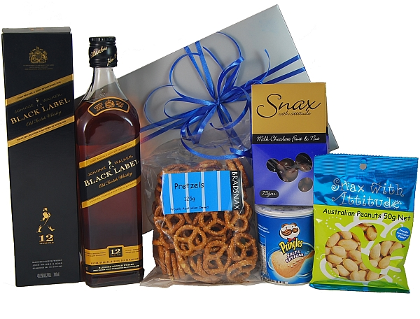 Corporate Baby Gifts Australia : Johnnie walker black label gift hamper hampers