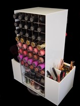 White Rotating 80 Lipstick Makeup Cosmetic Organizer Storage Holder