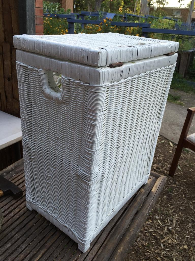 White painted cane laundry bedroom hamper bin as new the antique store antiques retro - Cane laundry hamper ...