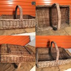 Antique Vintage Large Wicker Cane Basket Timber Supports ex Oyster Farm