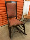 Antique Vintage Maple Rocking Nursing Bedroom Chair Tapestry Upholstery