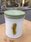 Vintage Art Deco c1930's Vasoline Glass Vegemite Bottle with Tin Lid