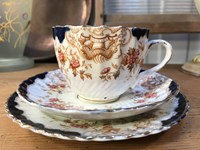 Antique English c1890's Chinoiserie Pattern Tea Cup Saucer Plate Trio