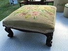 Gorgeous Antique Carved Mahogany & Tapestry Top Footstool