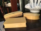 Antique Vintage Cellulose Zylonite Clothes Brush & Pair of Trinket Holders.