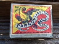 Vintage Brick of 12 Swedish Parrot Safety Cigarette Cigar Match Boxes