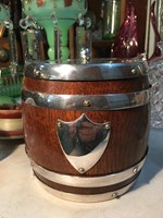 Antique Vintage English Oak & Porcelain Biscuit Barrel with Silver Plated Lid