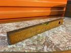 Vintage English Boxwood and Brass Spirit Level Rule 30cm 12 Inch
