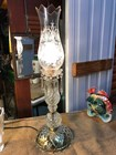 Tall Vintage Crystal Electric Table Lamp Etched Shade Victorian Style