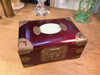 Vintage Chinese Timber Brass & Jadeite Jeweller Box Fully Lined