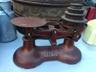 Vintage Set of Reendo Kitchen Shop Balance Cast Iron Scales & Weights