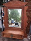 Antique Australian Federation Country Kauri Pine Wall Mirror with a Drawer