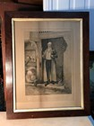 Antique Oak Framed English Victorian W. Dendy Sadler Etching His Favourite Bin