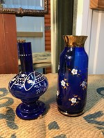 Pair of Small Vintage Bohemian Hand Decorated Cobalt Vases Gilded & Floral