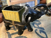 Antique English Pottery Elephant Carrying a Basket Figure
