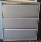 Factory 2ND Silver grey 3 drawer lateral filing cabinet