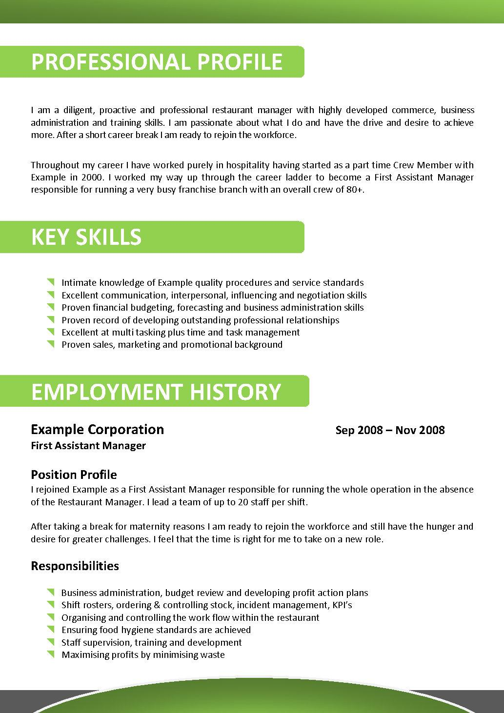 child care cv example