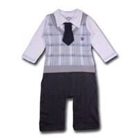 Formal Boy In Grey  1 Piece Romper/Onesie - Formal/Wedding Attire - Baby Boy Clothes