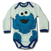 Baby Cookie Monster - 123 Sesame Street® Long Sleeve Body Suit Romper - Licensed & Genuine