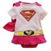 Superwoman 2 Pieces Outfit (Wiith Removable Cape) - Baby Girl Clothes