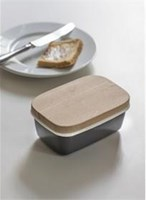 Enamel Butter Dish with wooden lid - SECONDS