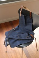 Denim Apron with leather and brass