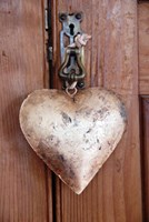 Burnished Heart with leather strap