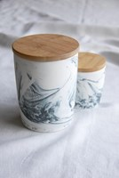 Marbled Canister with Bamboo Lid